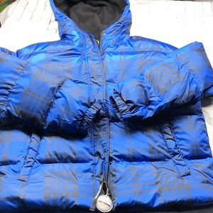 Juicy Couture blue plaid puffer jacket L hood NWT